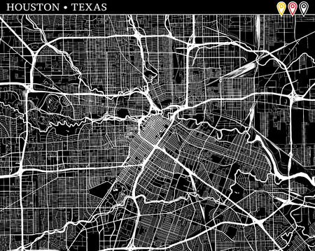 Simple map of Houston, Texas, USA. Black and white version for clean backgrounds and prints. This map of Houston contains three markers who are grouped and can be moved separetly in vector version. Ilustração