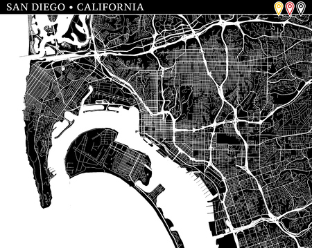 Simple map of San Diego, California, USA. Black and white version for clean backgrounds and prints. This map of San Diego contains three markers who are grouped and can be moved separetly in vector version. Ilustração
