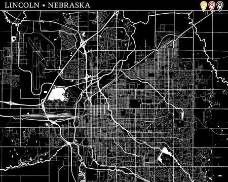 Simple map of Lincoln, Nebraska, USA. Black and white version for clean backgrounds and prints. This map of Lincoln contains three markers who are grouped and can be moved separetly in vector version.
