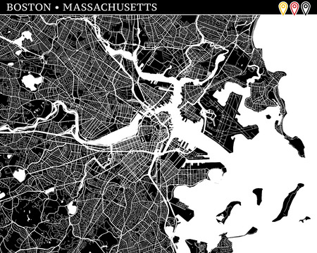 Simple map of Boston, Massachusetts, USA. Black and white version for clean backgrounds and prints. This map of Boston contains three markers who are grouped and can be moved separetly in vector version. Ilustração