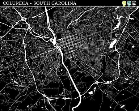 Simple map of Columbia, South Carolina, USA. Black and white version for backgrounds. This map of Columbia contains three markers who are grouped and can be moved separetly in vector version.