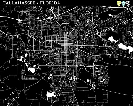 Simple map of Tallahassee, Florida, USA. Black and white version for backgrounds. This map of Tallahassee contains three markers who are grouped and can be moved separetly in vector version.