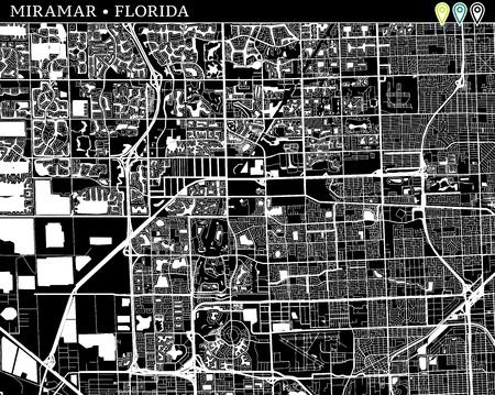 Map Of Miramar Florida.Simple Map Of Miramar Florida Usa Black And White Version For