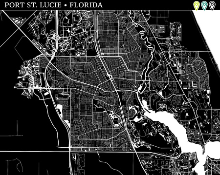Simple map of Port St. Lucie, Florida, USA. Black and white version for backgrounds. This map of Port St. Lucie contains three markers who are grouped and can be moved separetly in vector version.