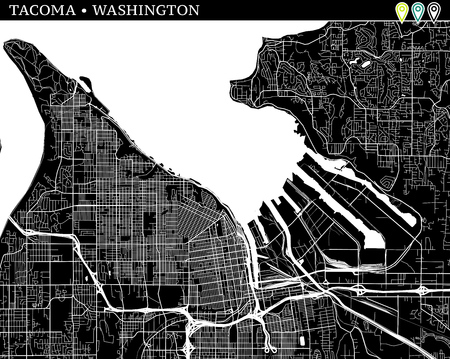 Simple map of Tacoma, Washington, USA. Black and white version for backgrounds. This map of Tacoma contains three markers who are grouped and can be moved separetly in vector version.