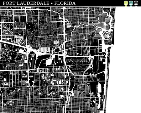 Simple map of Fort Lauderdale, Florida, USA. Black and white version for backgrounds. This map of Fort Lauderdale contains three markers who are grouped and can be moved separetly in vector version.