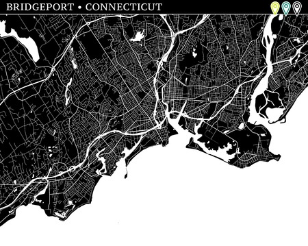 Simple map of Bridgeport, Connecticut, USA. Black and white version for backgrounds. This map of Bridgeport contains three markers who are grouped and can be moved separetly in vector version.