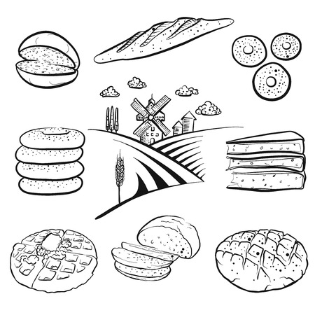 Set of hand drawn bakery products. Black outline vector drawings.
