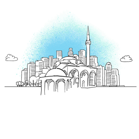 City skyline with historic mosque. Hand drawn vector illustration.