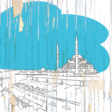 Istanbul drawing on wood. Vector illustration on vintage background.