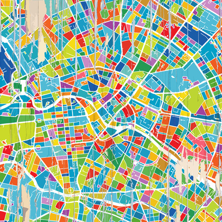 Colorful Berlin map. Vintage map series. Illustration