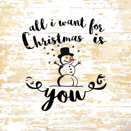 Christmas wishes lettering on wooden background. Vector illustration drawn by hand. Illustration