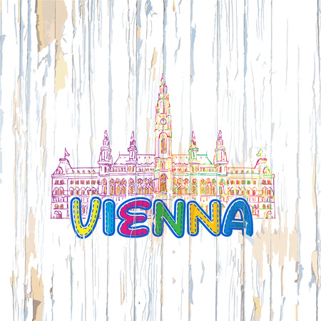 Colorful Vienna drawing on wooden background. Hand drawn vector illustration.