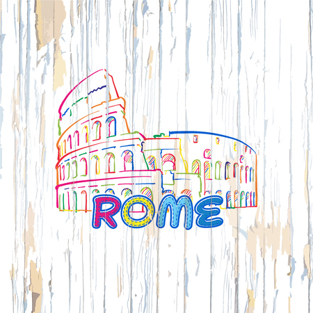 Colorful Rome drawing on wooden background. Hand drawn vector illustration. Иллюстрация
