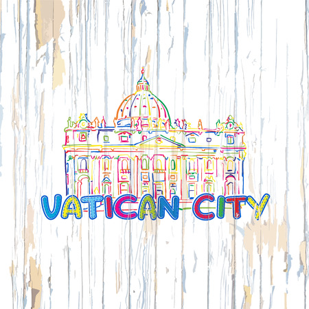 Colorful Vatican drawing on wooden background. Hand drawn vector illustration.