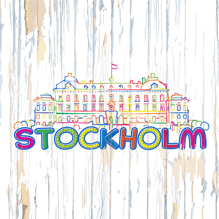 Colorful Stockholm drawing on wooden background. Hand drawn vector illustration. Illustration