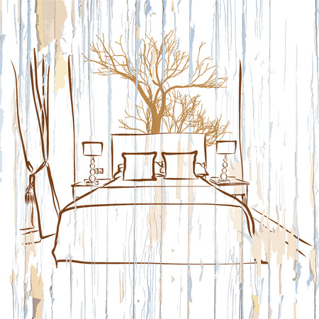 Hotel room king size bed on wood. Hand-drawn vector vintage illustration.