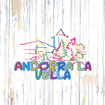 Colorful Andorra drawing on wooden background. Hand drawn vector illustration.