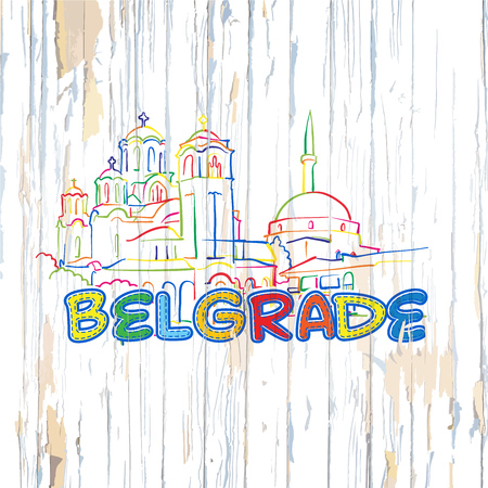 Colorful Belgrade drawing on wooden background. Hand drawn vector illustration.