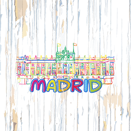 Colorful Madrid drawing on wooden background. Hand drawn vector illustration.