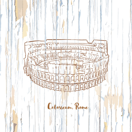 Colosseum rome drawing on wooden background. Hand-drawn vector vintage illustration. Vectores