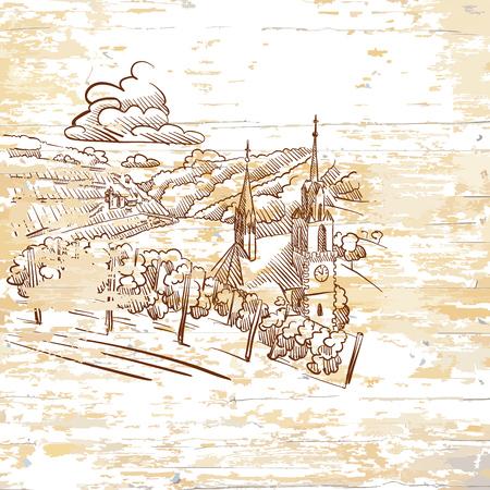 vintage vineyard drawing on wooden background. Hand-drawn vector illustration. Vektoros illusztráció