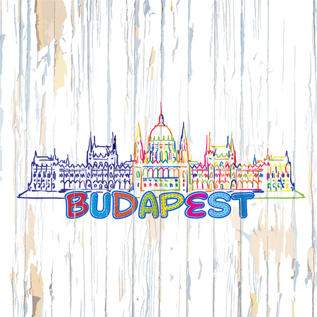 Colorful Budapest drawing on wooden background. Hand drawn vector illustration.
