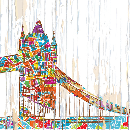 London tower bridge drawing. Hand-drawn vector vintage illustration.