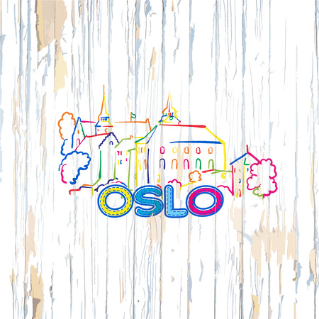 Colorful Oslo drawing on wooden background. Hand drawn vector illustration.