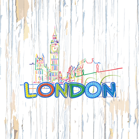 Colorful London drawing on wooden background. Hand drawn vector illustration. Stock Illustratie