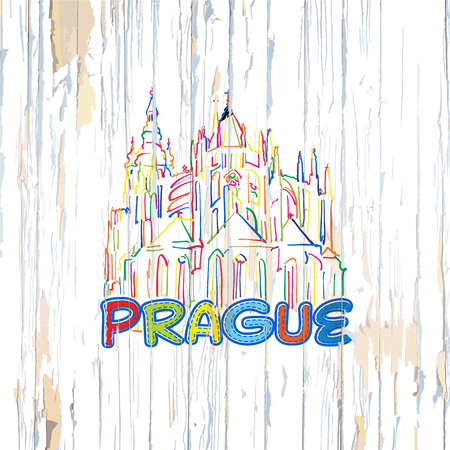 Colorful Prague drawing on wooden background. Hand drawn vector illustration.