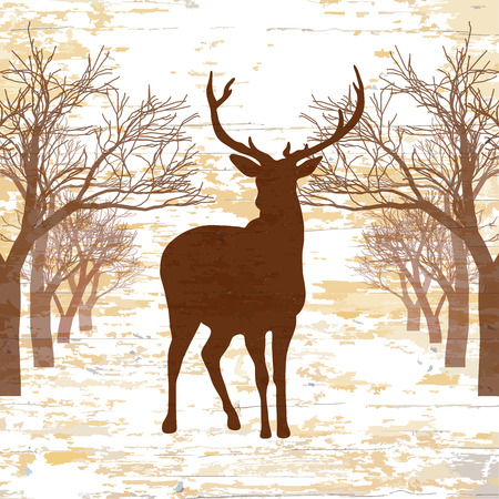 Vintage deer drawign with trees. Hand-drawn vector vintage illustration.