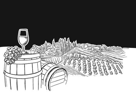 vineyard landscape with glass scene, hand-drawn vector food illustration for vine label and social media marketing