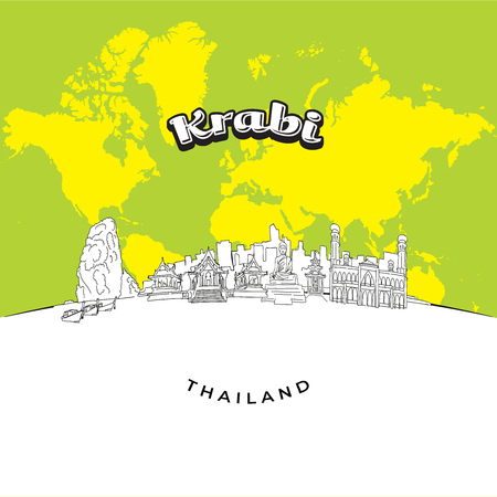 Krabi Thailand panorama drawing. Hand-drawn vector illustration. Famous travel destinations series. Иллюстрация