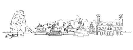 Thailand panorama drawing. Hand-drawn vector illustration. Famous travel destinations series. 向量圖像