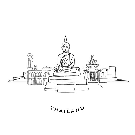 Thailand buddha and landmarks drawing. Hand-drawn vector illustration. Famous travel destinations series. 写真素材 - 117790357