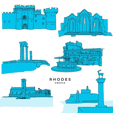 Rhodos Griechenland Wahrzeichen Zeichnungen gefüllt. Handgezeichnete Vektor-Illustration. Serie berühmte Reiseziele.