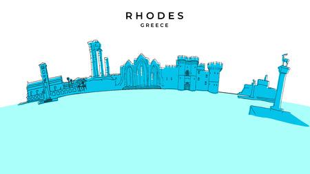 Rhodos Griechenland-Panorama. Handgezeichnete Vektorillustration. Serie berühmte Reiseziele. Vektorgrafik