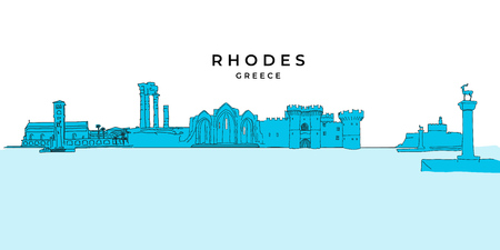 Rhodos Griechenland Panoramazeichnung. Handgezeichnete Vektor-Illustration. Serie berühmte Reiseziele.