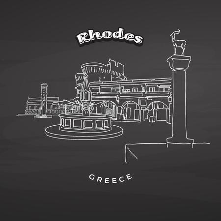 Rhodes Greece landmarks on blackboard. Hand-drawn vector illustration. Famous travel destinations series. Иллюстрация