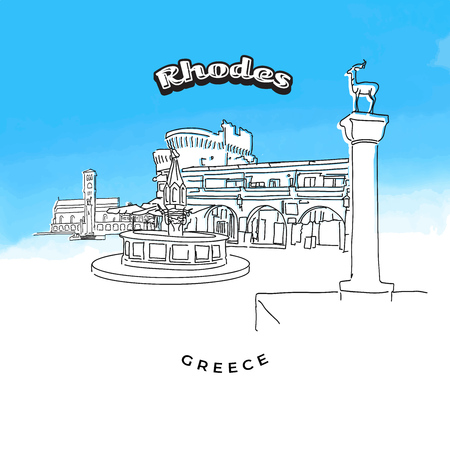Rhodes Greece famous landmarks. Hand-drawn vector illustration. Famous travel destinations series. Vettoriali