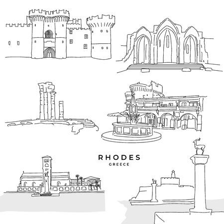 Rhodos Griechenland Wahrzeichen Zeichnungen. Handgezeichnete Vektor-Illustration. Serie berühmte Reiseziele.