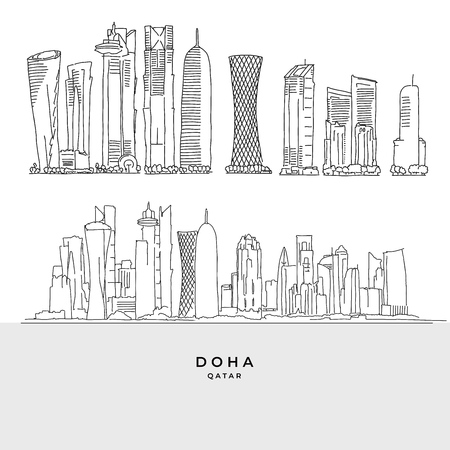 Doha Qatar skyscaper set. Hand-drawn vector illustration. Famous travel destinations series.