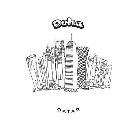 Doha Towers Skyline. Hand-drawn vector illustration. Famous travel destinations series.