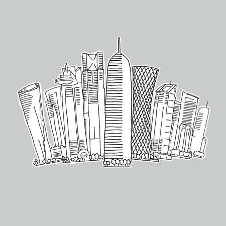 Doha Qatar skyline drawing. Hand-drawn vector illustration. Famous travel destinations series.