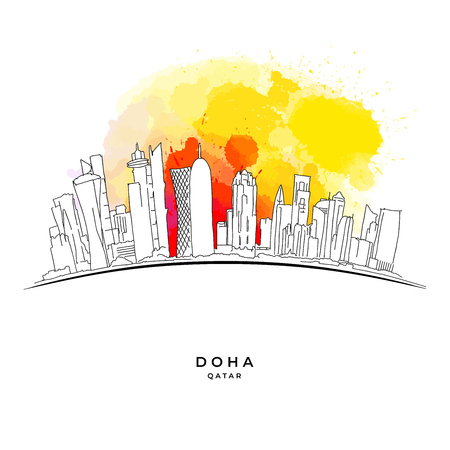 Doha Qatar skyline on colorful background. Hand-drawn vector illustration. Famous travel destinations series.