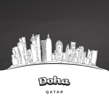 Doha Qatar skyline outline. Hand-drawn vector illustration. Famous travel destinations series.