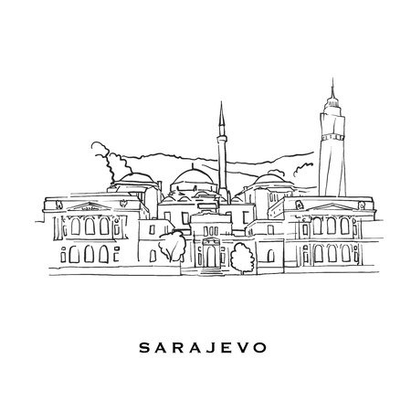 Sarajevo Bosnia and Herzegovina famous architecture. Outlined vector sketch separated on white background. Architecture drawings of all European capitals.