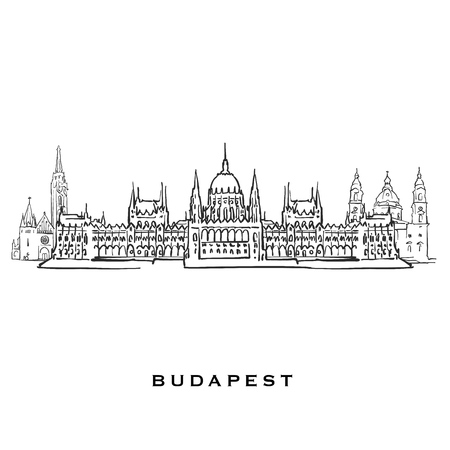 Budapest Hungary famous architecture. Outlined vector sketch separated on white background. Architecture drawings of all European capitals. Illustration