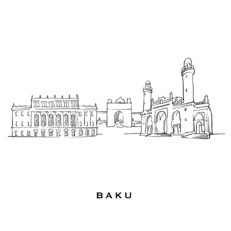 Baku Azerbaijan famous architecture. Outlined vector sketch separated on white background. Architecture drawings of all European capitals.